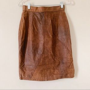 Brown Leather Paris Sports Club Pencil Skirt
